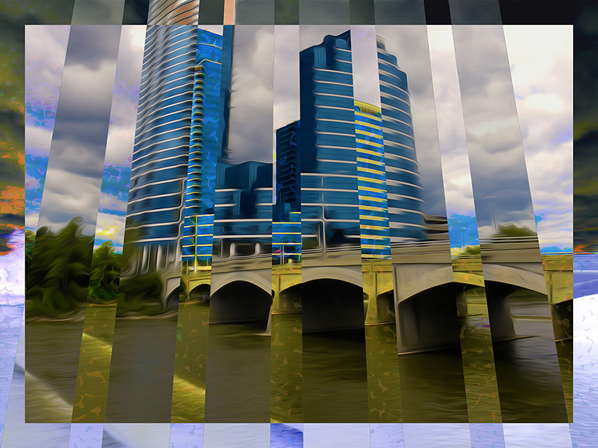Yolanda Fundora, Blue Buildings, Yellow Rapids, Digital.