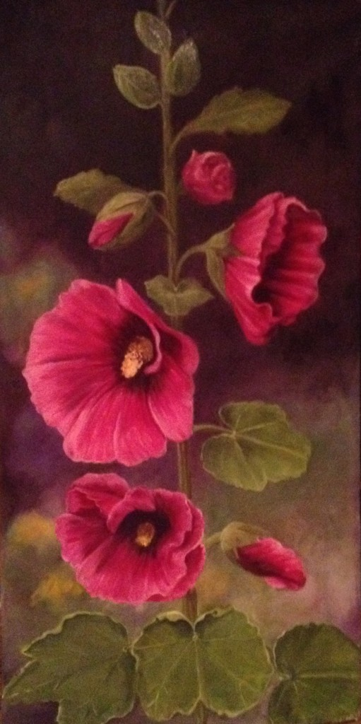 Celeste Fondaco, Hollyhocks, Oil.