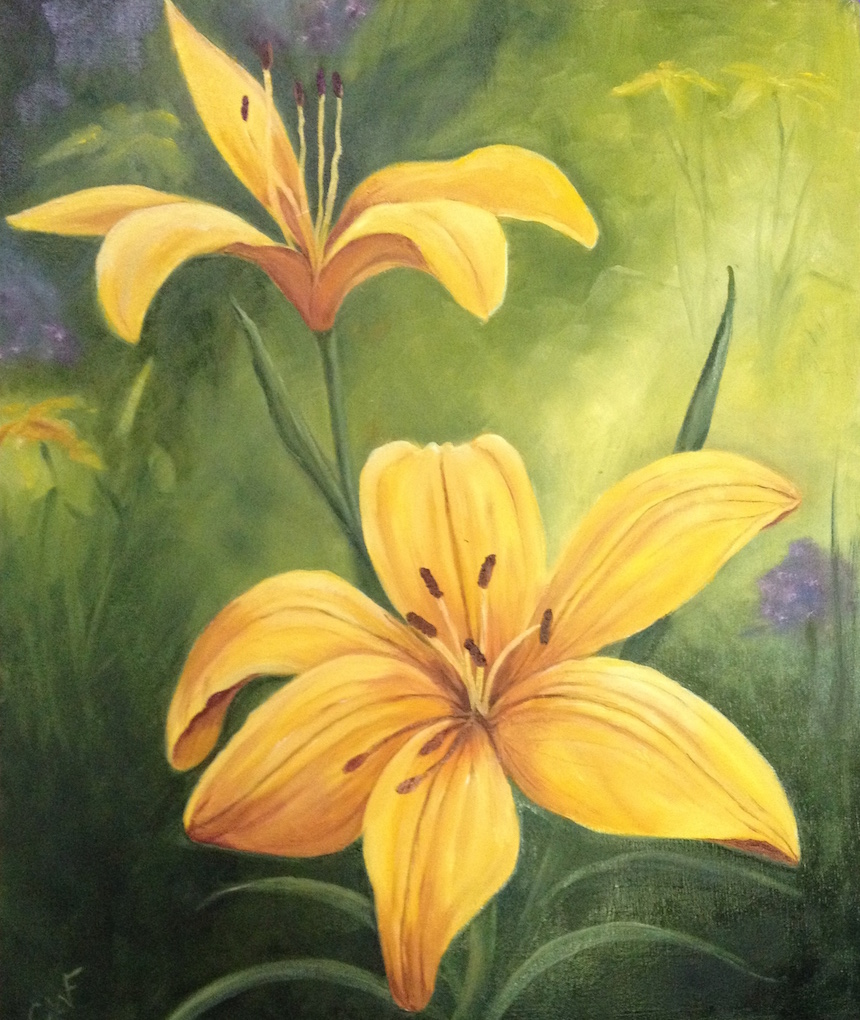 Celeste Fondaco, Yellow Lily, Oil.