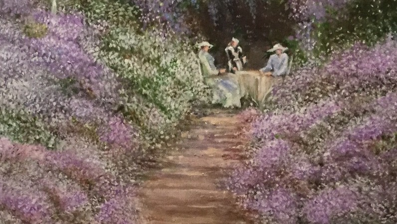 "Suzanne Casterli, ""Afternoon Tea in the Garden"", Acrylics."