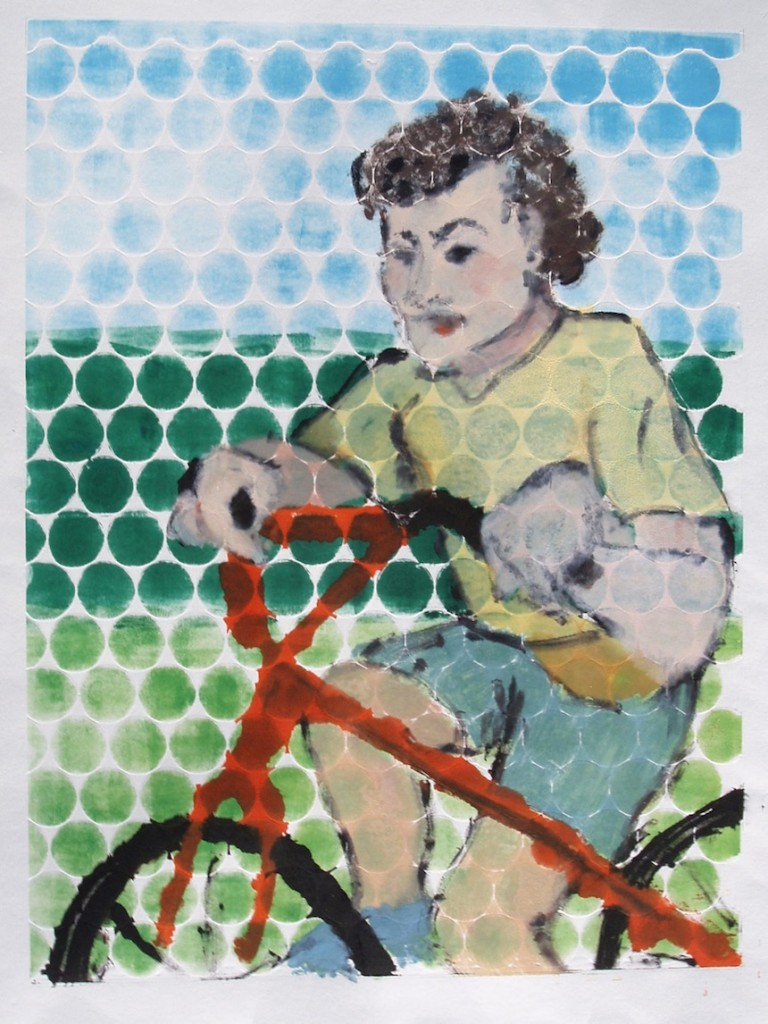 "Helena Axelrod, ""Red Bicycle"", Monotype."
