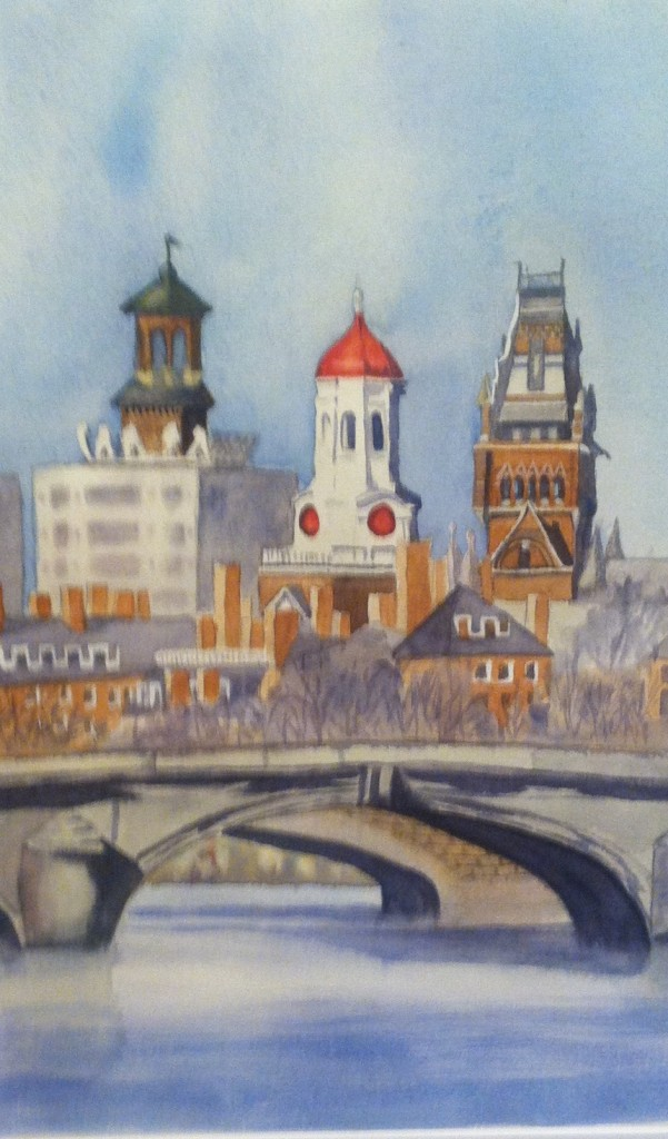 Noreen Brunini, Cambridge Skyline, Watercolor.