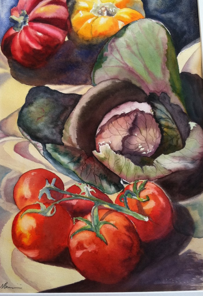 Noreen Brunini, Green Market Haul, Watercolor.