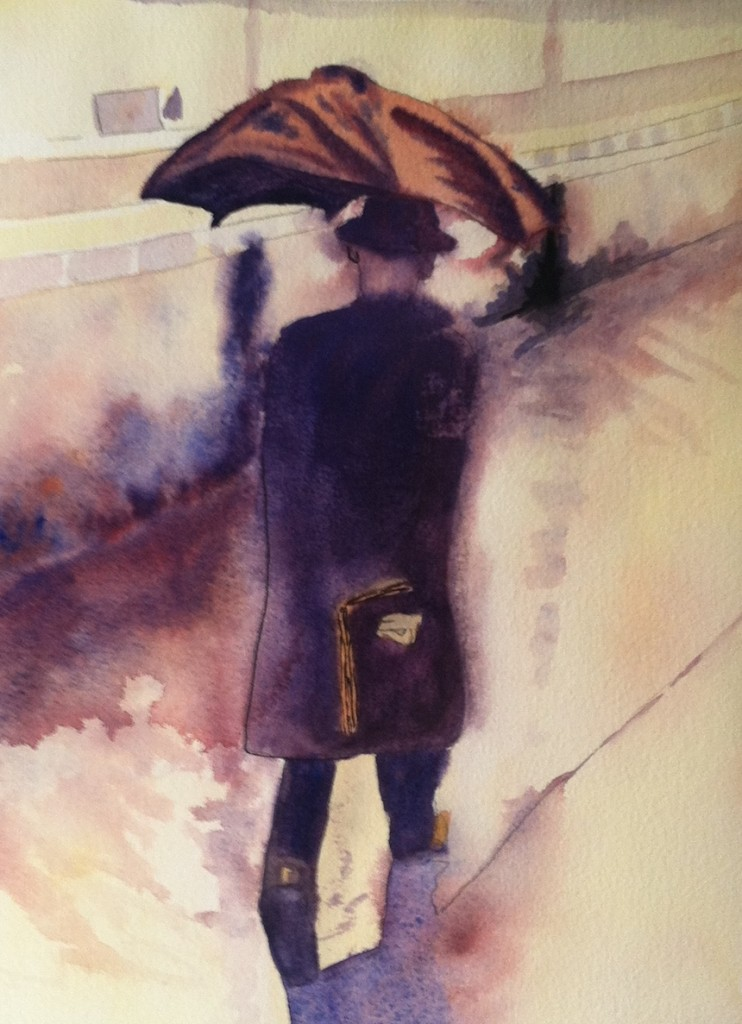 Noreen Brunini, Strolling Along, Watercolor.