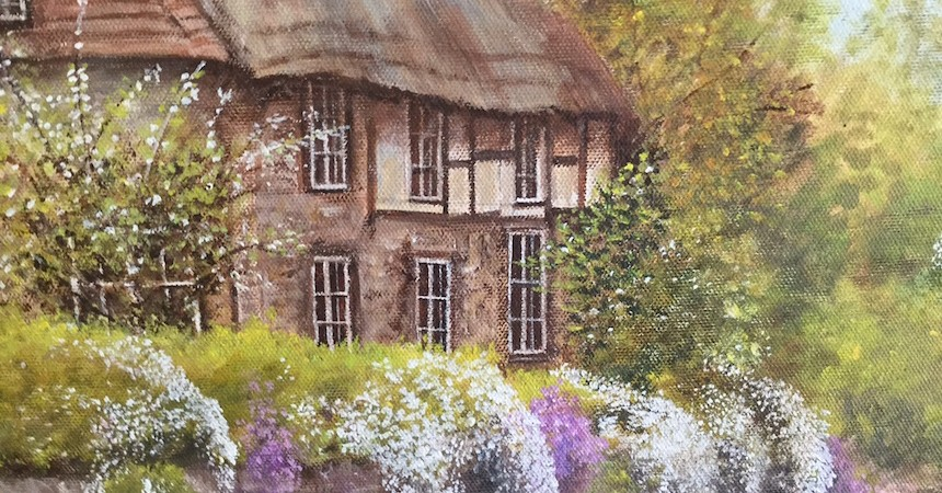 Suzanne Casterlin, Cozy Cottage, Acrylic.