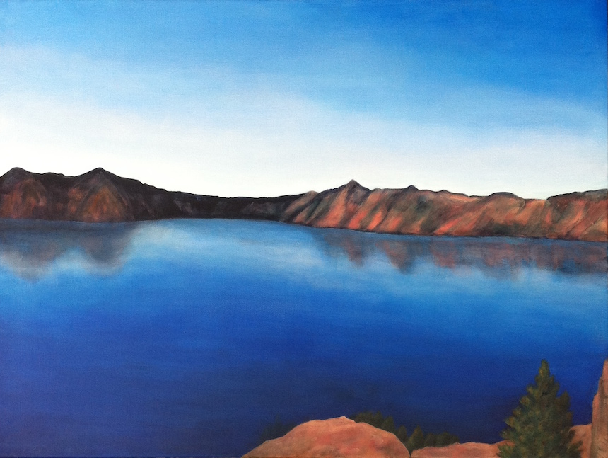 "Sally Abbott, ""Crater Lake; It's Really That Blue"", Acrylic."