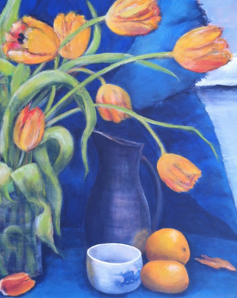 "Sally Abbott, ""Tulips and Tangerines"", Acrylic."