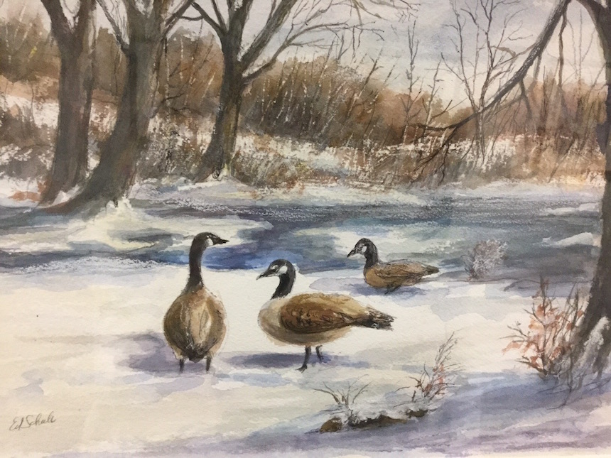 "Edward Schuh, ""Catching a Flight"", Watercolor."