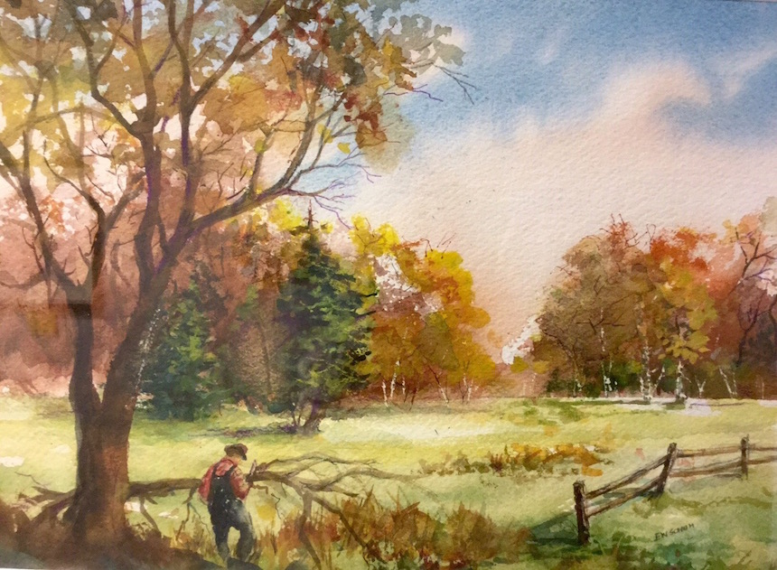 "Edward Schuh, ""Fall Clean Up"", Watercolor."