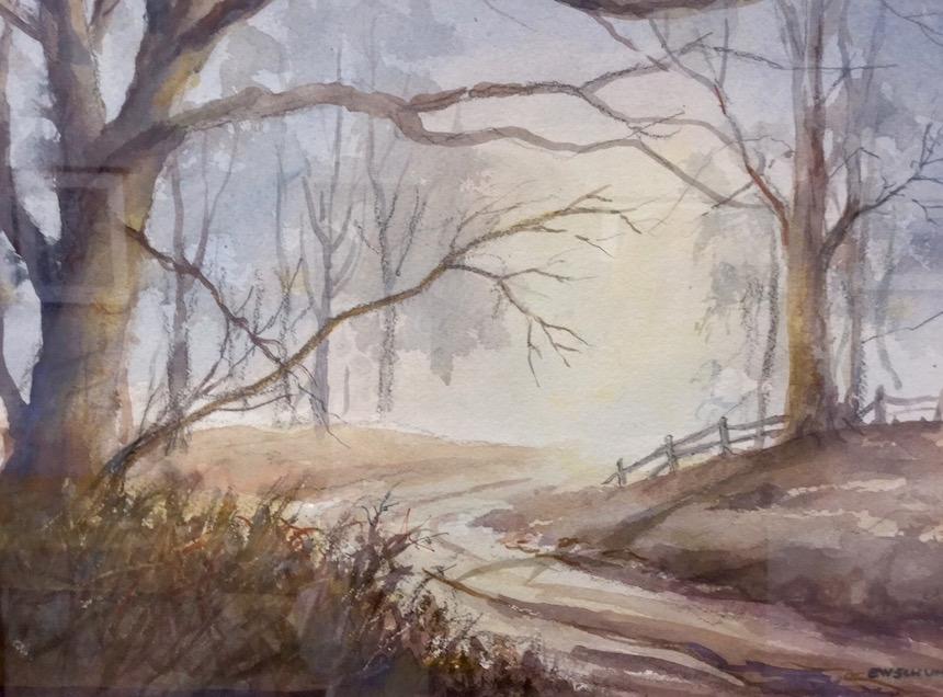 """Edward Schuh, """"Misty Dawn"""", Watercolor."""