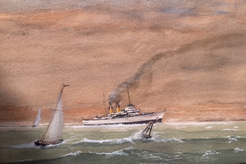 "Edward Schuh, ""Return to Port"", Watercolor."