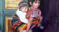 "Anne Paule Picker, ""Mayan Children"", Oil."