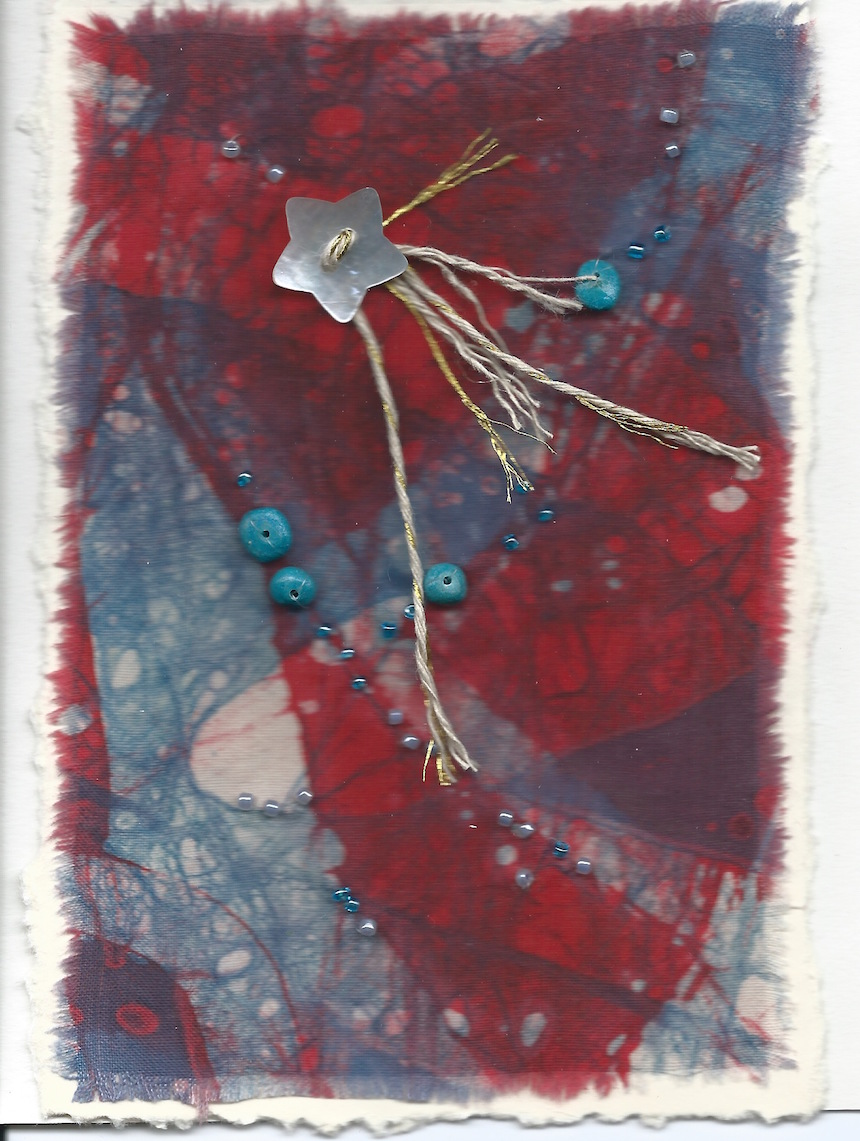 Joanne Petuchovas, Batik Card, mixed media.