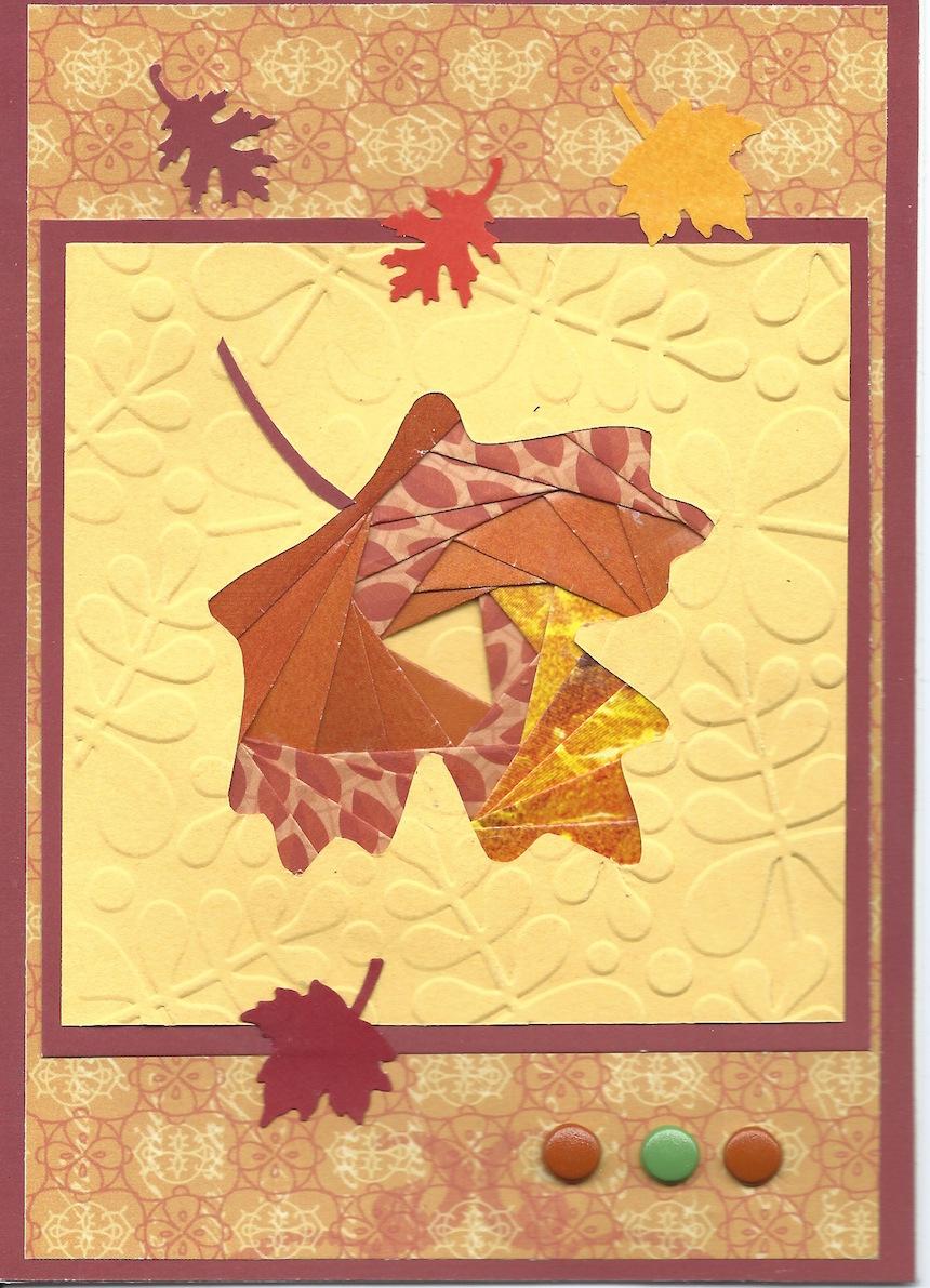 "Joanne Petuchovas, ""Leaf"", Iris paper folded card."