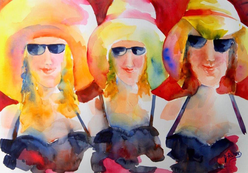 "June Fisher-Markowitz, ""Les Madames de Fauves"", watercolor."