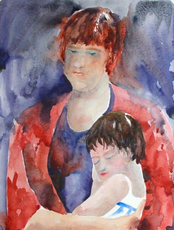 "June Fisher-Markowitz, ""Mother Daughter"", watercolor."