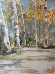 "Betsy Mirabelli, ""Aspen Trees,""  watercolor."