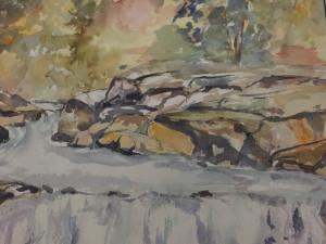 "Betsy Mirabelli, ""Hacklebarney Falls,"" watercolor."