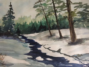 "Betsy Mirabelli, ""Winter Silence,"" watercolor."
