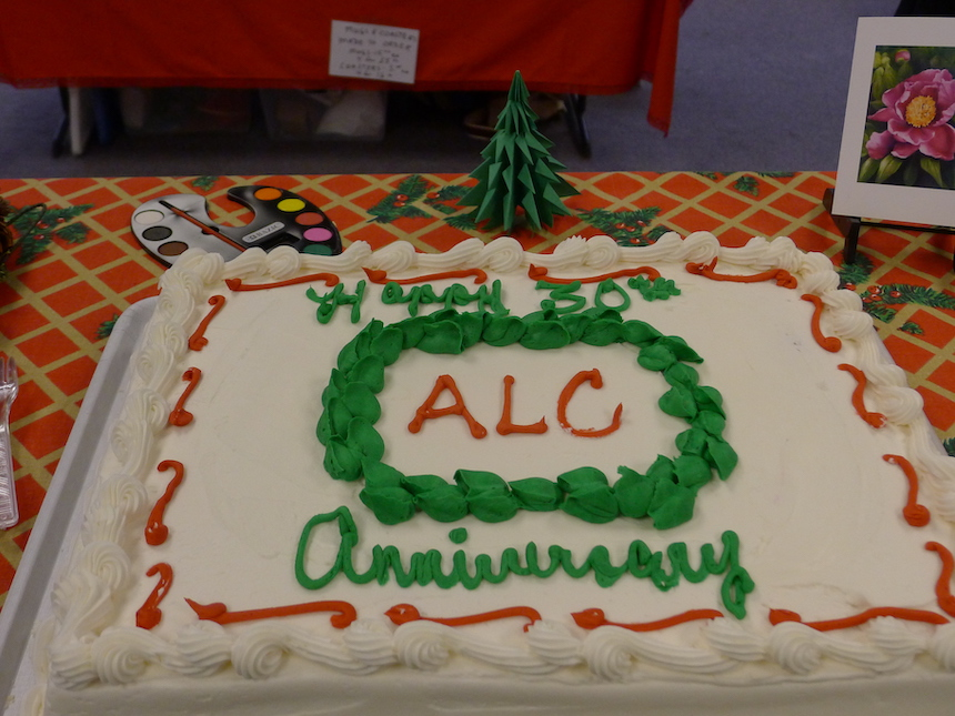 A 30th anniversary cake was shared with reception-goers.