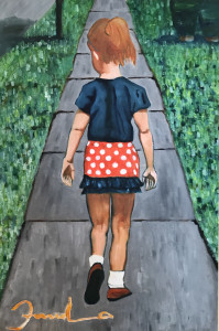 """Fanelo Aguayo, """"Walking to the 4th of July Parade"""", oil."""